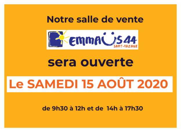 Emmaus Saint-Nazaire ouvert le 15 Aout 2020