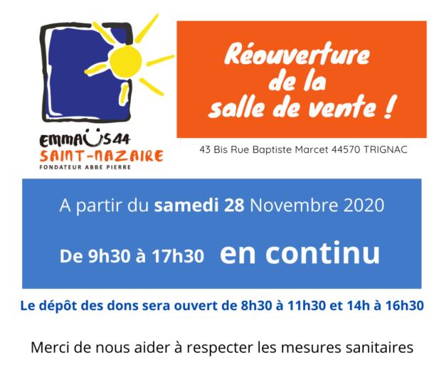 Réouverture Salle de vente EMMAÜS ST NAZAIRE à partir du 28 novembre 2020