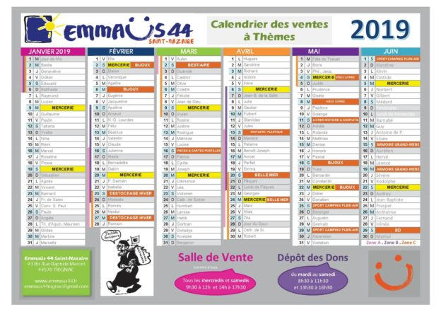 emmaus44 Saint-Nazaire calendrier des ventes thématiques 2019 premier semestre