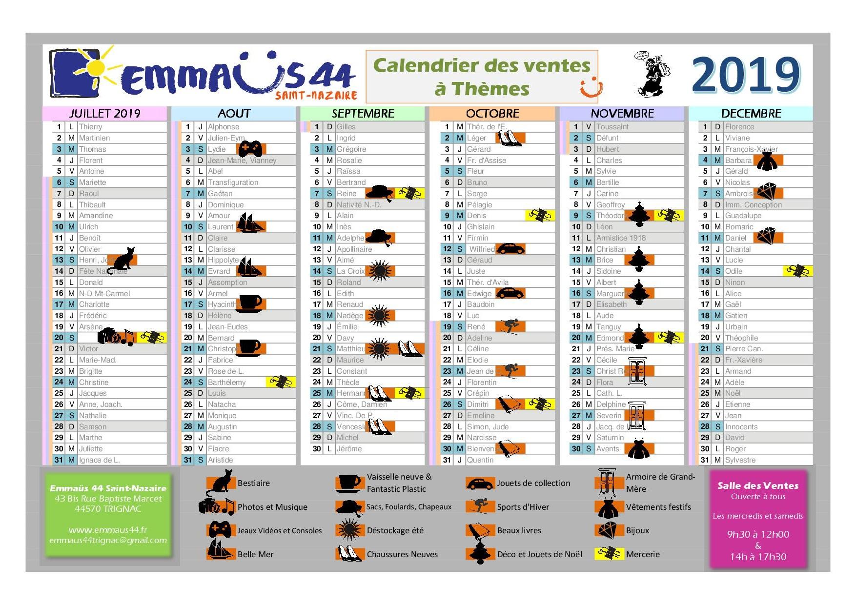 emmaus44 Saint-Nazaire calendrier des ventes thématiques 2019 deuxième semestre