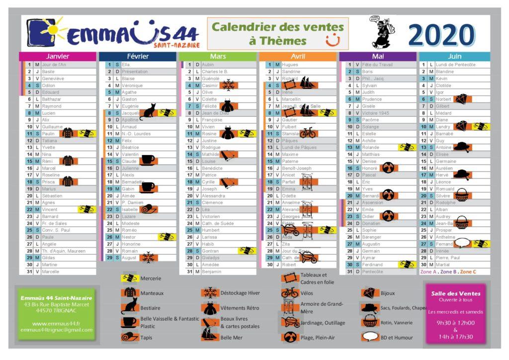 calendrier 2020 1er SEMESTRE EMMAÜS 44 SAINT NAZAIRE