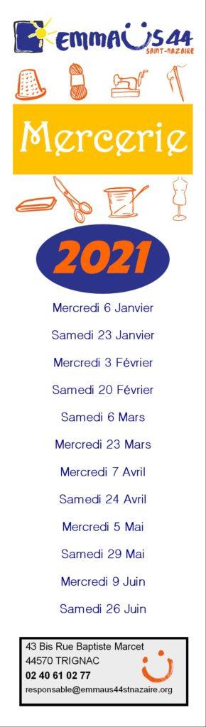 calendrier mercerie 2021 Semestre 1 Recto